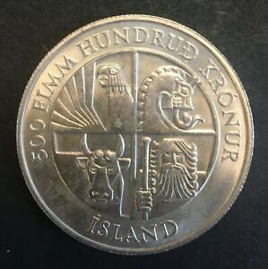 Iceland - Silver 500 Krónur Coin - '1st Settlement' - 1974 - UNC