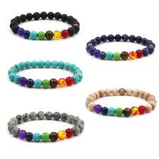 Colorful Chakra Yoga Energy Natural Volcanic Stone Bracelets