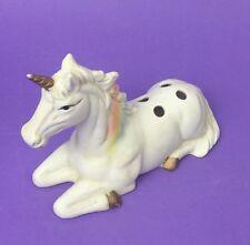 Vtg Rainbow Unicorn Porcelain Bisque Figurine: Pen - Pencil - Incense Holder