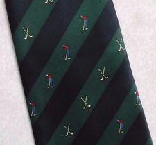 Vintage Golf Tie Mens Necktie Retro Sport Golfing Club Navy Green