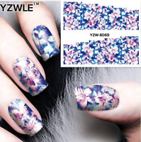 Nail Art Water Decals Stickers Transfers Blue Pink Flowers Gel Polish (8069)