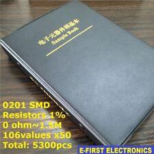 0201 1% SMD SMT Chip Resistors Sample Book Assorted Kit 106Values x50 Assortment
