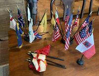 Large Lot of Assorted American and Foreign Desk Flags Flag Assortment