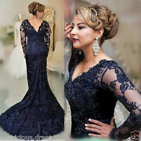 2019 Long Sleeve Navy Lace Mother Of The Bride / Groom Dress Guest Evening Gowns