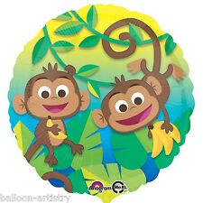 "18"" Tropical Jungle MONKEY Fun Party Summer BBQ Round Foil Balloon"