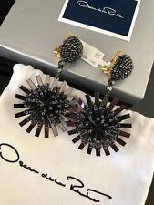 OSCAR DE LA RENTA Black Beaded Long Pom Pom Flower Earrings NWT $470
