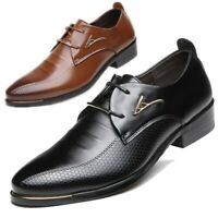Men's Leather Dress Shoes Business Pointy Toe Lace Up Oxford Formal Wedding Prom