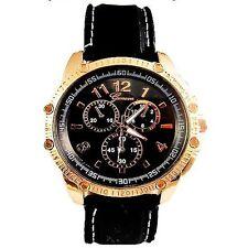 Black Gold Mens Wrist Watch Geneva Designer Silicone Sport Chrono Oversized