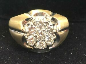 ANTIQUE ESTATE 14K GOLD  DIAMOND RING BAND MEN'S WEDDING 1 CT  WEDDING APPRAISAL