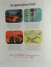 1945 Lockheed advertisement, P-38 Lightning, shooting Germans, WWII