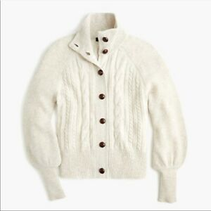 J Crew NEW Womens Small Ivory White Balloon Sleeve Cable Knit Cardigan Sweater