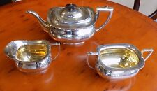 D & A 3 Piece Silver Plate Tea Set Art Deco Style