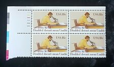 1981 Plate Block 1925! US Mint MNH Stamp Disabled Man Looking Through Microscope