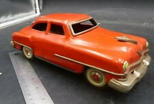 "B14 TIN 1952 CHRYSLER WINDSOR YONEZAWA JAPAN FRICTION TOY CAR 10"" RED"