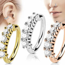 Punk Nose Ring Ear Hoop Tragus Helix Cartilage Earring Crystal Stainless Steel