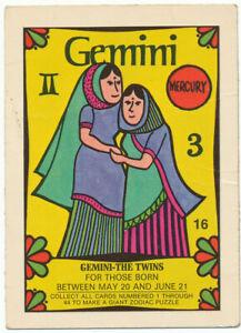 Vintage 1969 Zodiac Donruss Trading Card | Gemini #16 | Ultra Rare! G+
