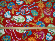 Fleece Fabric (DT) NEW Bright  Dia De Los Muertos Sugar Skulls Skeleton RED BTY