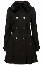 New TOPSHOP faux fur collar skirted trench coat UK 14 in Black