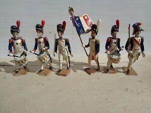 vintage CBG Mignot, Napoleonic Grenadier Guard drummers & flag lead soldier, JL