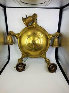 """Antique Weber Brass Ceiling 5 Light Pan Lamp Chandelier Fixture 10"""""""