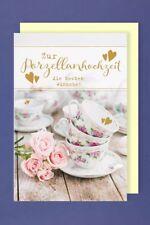 Porzellanhochzeit Grußkarte Hochzeitstag Kaffeegeschirr 16x11cm