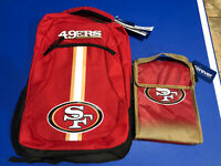 New San Francisco 49ers NFL Backpack  And New Insulated Lunch Bag Lot Vhtf
