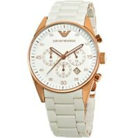 NEW EMPORIO ARMANI AR5920 WHITE SILICONE RUBBER ROSE GOLD WOMENS WATCH UK