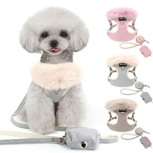 Fur-Trimmed Dog Harness Coat and Walking Lead with Waste Poop Bag Front Leading