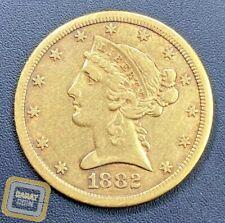 1882-CC $5 Liberty Head Gold Half Eagle Key Date Carson City Mint US Coin RARE