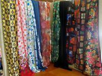 12 scarves big lot long rectangular assorted colors fibers Lot A