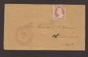 RPO: Boston & Fall River 1850s #11 Cover, Red CDS, SCARCE Mass Railroad