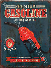 American Retro Garage Gasoline Nozzle Gas Filling Station, Large Metal Tin Sign