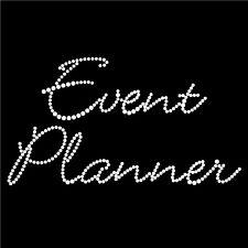 "Diamonte Hotfix Wedding Transfers Rhinestones iron On Motif ""Event Planner"" -St1"