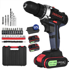 21V Cordless Drill Driver Set Li-Ion Battery Electric Screwdriver w/ Battery New