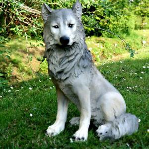 Wolf Isegrim Hund Wild Tier Gartenfigur Dekofigur Tierfigur Skulptur grau