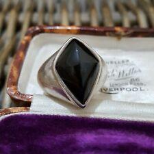 Large Vintage Sterling Silver Signet Ring, Black Onyx, Size L 1/2 US Size 6