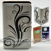 For OPPO Series - Black Swirl Theme Print Wallet Mobile Phone Case Cover