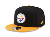 New Era Men 9Fifty Hat NFL Pittsburgh Steelers Snapback Baycik Black Gold Cap
