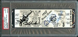 1968 WORLD SERIES DETROIT TIGERS TEAM SIGNED FULL TICKET KALINE LOLICH PSA/DNA !
