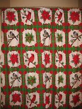 Shower Curtain with Cardinals, Poinsettia, Birds, Holiday Bathroom Accessory