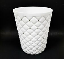NEW WHITE DIAMOND SHAPE QUILTED WITH CRYSTALS RESIN,3D TRASH CAN,WASTE BASKET