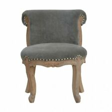 French Solid Wood Grey Velvet Studded Armless Occaional Chair Cabriole Legs