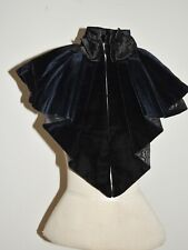 Victorian Velvet Dark Blue Mantle / Collar w Silk Moire Lining