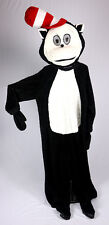 Cat With Hat Black And White Faux Fur Mascot Costume Cartoon Character