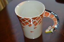New Pier 1 Imports Handpainted Stonware Coffee Mug Tea Cup Giraffe Huge Rare