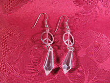 Pierced Wires Silvertone Dangle Peace Sign Earring Pair Made In U.S.A.