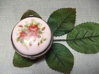 Pillendose Porzellandose Süßstoffdose  Rosen Metllmontierung Rund 6735