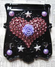 Heart Trucco Specchio borsetta Heart Rose Nero Gotico KAWAII Decoden DECO DEN