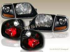 97 98 99 00 FORD F150 BLACK HEADLIGHTS + CORNER LIGHTS FLARESIDE TAIL LIGHTS