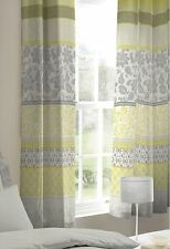 """BANDED FLORAL BIRD YELLOW GREY LINED 66"""" X 72"""" - 168CM 183CM ANNEAU TOP CURTAINS"""